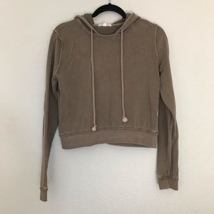 Basic tan crop hoodie